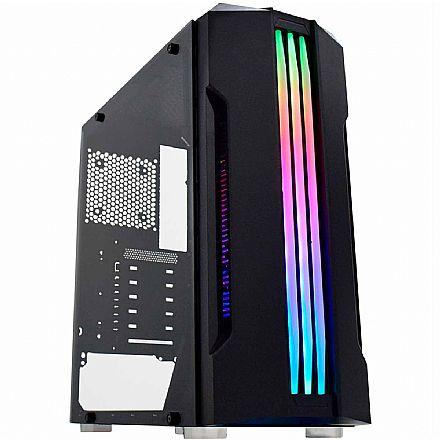 Gabinete Gamer K-Mex Bifrost CG02QI - LED RGB - Janela Lateral de vidro - Preto
