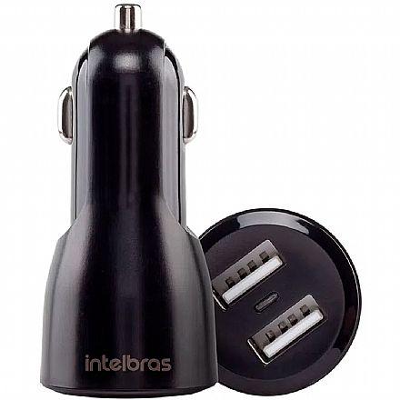 Carregador Veicular USB - com 2 portas USB - 2.4A - Universal - Intelbras ECV2 Fast