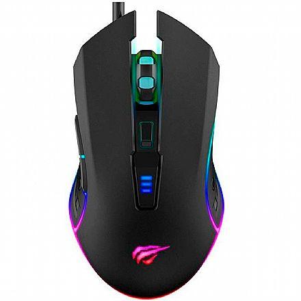 Mouse Gamer Havit MS1018 - 3200dpi - 6 Botões - RGB - HV-MS1018
