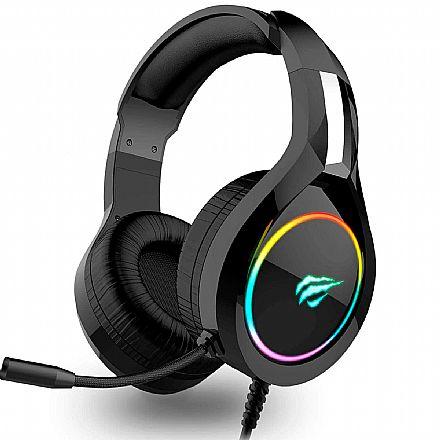 Headset Gamer Havit H2232D - LED RGB - Conector USB e P2 3.5mm - Microfone - Preto - HV-H2232D