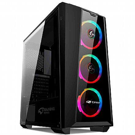 Gabinete Gamer C3Tech MT-G800BK - RGB - Lateral em Acrílico - Mid Tower - Preto