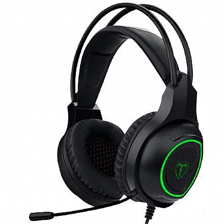 Headset Gamer T-Dagger Atlas - LED - Conector P2 - com Microfone - Preto e verde T-RGH201