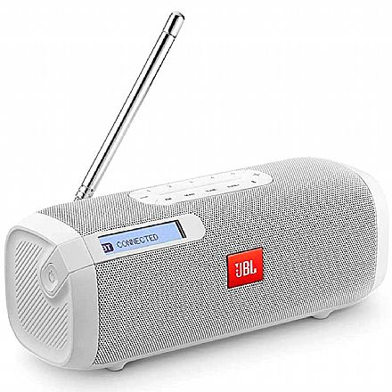 Caixa de Som Portátil e Rádio JBL Tuner FM - Bluetooth - 5W RMS - Branca - JBLTUNERFMWHTBR