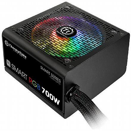 Fonte 700W Thermaltake - PFC Ativo - RGB - Fan Hub/Sleeved Cable - 80 PLUS® Bronze - PS-SPR-0700NHFAW