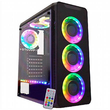 Gabinete Gamer K-Mex Infinity - Frontal em Vidro Temperado e Lateral em Acrílico - com 3 Coolers RGB e Fita RGB - com Controle Remoto - CG-10G8