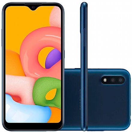 """Smartphone Samsung Galaxy A01 - Tela 5.7"""", 32GB, Dual Chip 4G, Câmera Dupla 13MP - Azul - SM-A015MZBEZTO"""