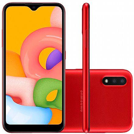 """Smartphone Samsung Galaxy A01 - Tela 5.7"""", 32GB, Dual Chip 4G, Câmera Dupla 13MP - Vermelho - SM-A015MZREZTO"""