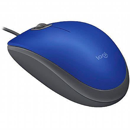 Mouse USB Logitech M110 Silent - 1000dpi - Azul - 910-005491