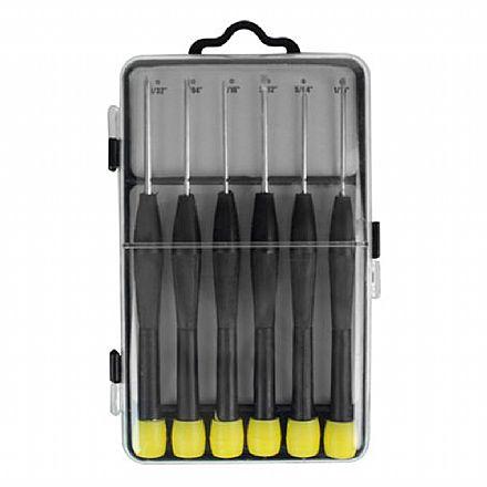 Kit com 6 Chaves de Precisão - Chaves de Fenda e Philips - 056-0103