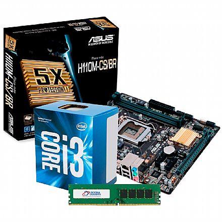 Kit Upgrade Intel® Core™ i3 7100 + PCWare IPMH110G + Memória 8GB DDR3