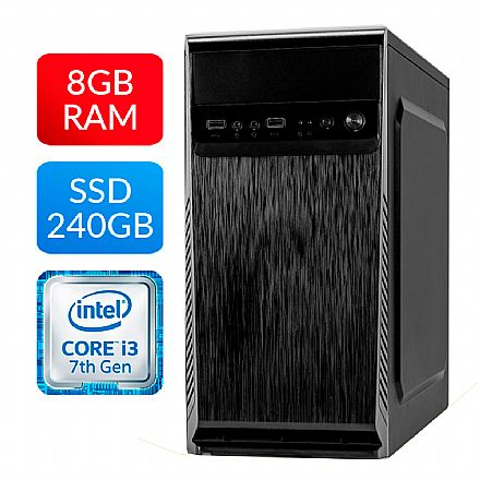 Computador Bits Home Office - Intel Core i3 7100, 8GB, SSD 240GB, FreeDos - 2 Anos de garantia