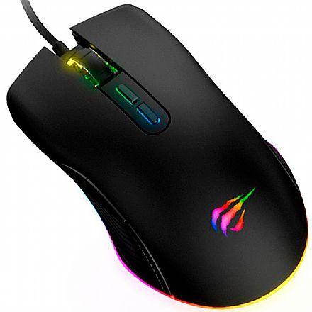 Mouse Gamer Havit MS877 - 2.400dpi - 7 Botões - USB - com LED RGB - Preto - HV-MS877