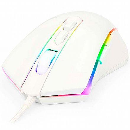 Mouse Gamer Redragon Memeanlion M710 - 10000 DPI - 10 Botões - USB - com LED RGB- Branco lunar