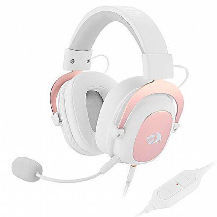 Headset Gamer Redragon Zeus H510W Sakura Edition - 7.1 Surround - USB e Entrada de Áudio de 3.5mm - Com Microfone Destacável - Branco e Rose Gold