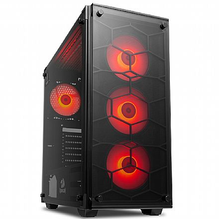 Gabinete Gamer Redragon Wheeljack Red - com 4 Coolers LED Vermelho - Laterais e Frontal em Vidro - Mid Tower - GC-606BK-R