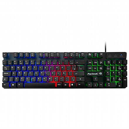Teclado USB Gamer Fortrek G Blackfire - LED RGB - Teclas Multimídia - ABNT2 - 70578