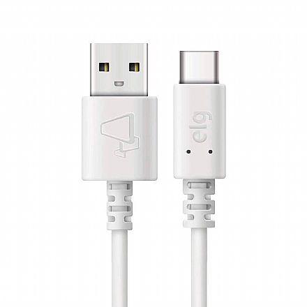 Cabo USB-C para USB - 2 metros - Branco - ELG TCUSB2