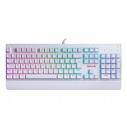 Teclado USB Gamer Mecânico Redragon Kala Lunar White - ABNT2 - Iluminação RGB Chroma - Switch Azul - K557W-RGB BLUE