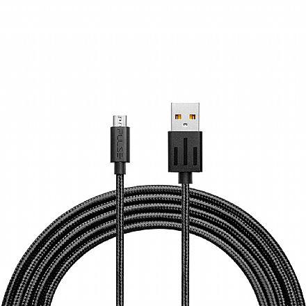 Cabo Micro USB para USB - 1.5 Metro - Acabamento Premium - Preto - Multilaser Pulse WI412
