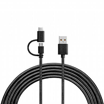 Cabo 2 em 1 Micro USB e USB-C para USB - 1.5 Metro - Acabamento Premium - Preto - Multilaser Pulse WI415