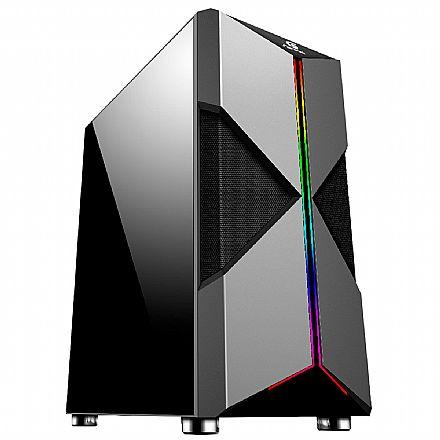 Gabinete Gamer Fortrek Holt - Lateral em Acrílico - LED RGB - Mid Tower - 70571