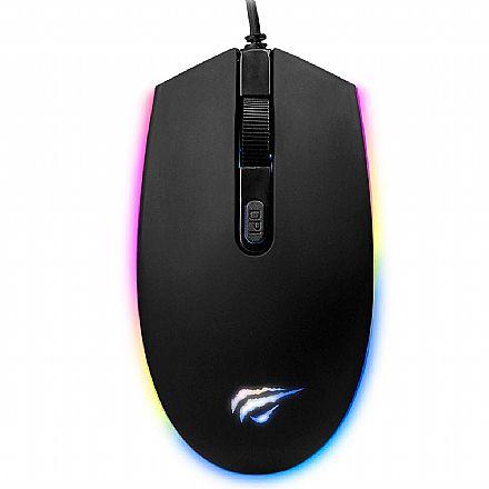 Mouse Gamer Havit MS1003 - 1200dpi - 4 Botões - RGB - HV-MS1003