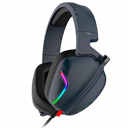 Headset Gamer Havit H2019U - LED RGB - Conector USB - com Microfone - Azul Marinho - HV-H2019U