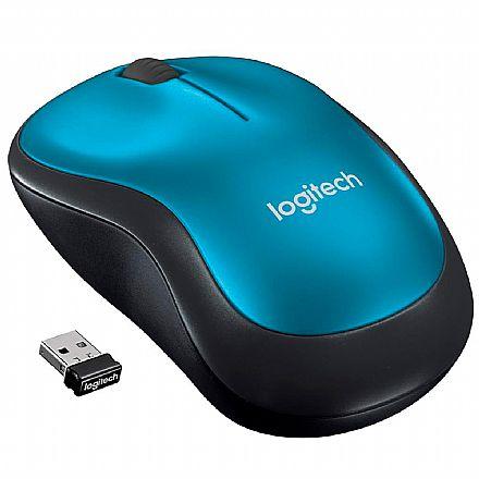 Mouse sem Fio Logitech Wireless M185 - 2,4GHz - Azul - 910-003636