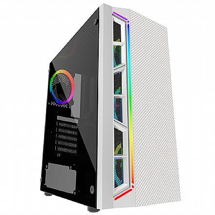 Gabinete Gamer Bluecase BG-033W - LED RGB - Lateral em vidro - USB 3.0 - Mid Tower - Branco
