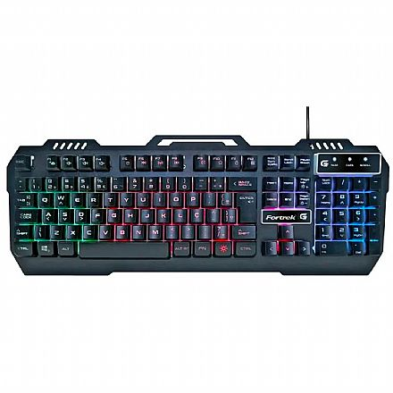 Teclado USB Gamer Fortrek Crusader - LED RGB - Teclas Multimídia - 70528
