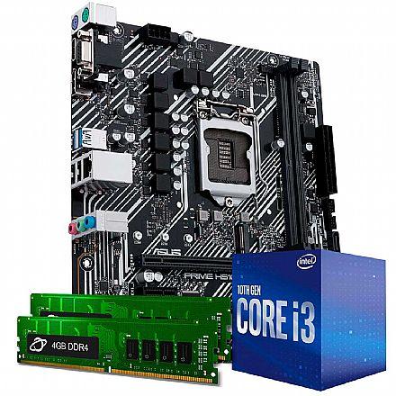 Kit Upgrade Intel® Core™ i3 10100f + Asus Prime H410M-E + Memória 8GB DDR4