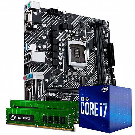 Kit Upgrade Intel® Core™ 7 10700F + Asus Prime H410M-E + Memória 8GB DDR4 (2x4GB)