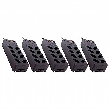 Kit Protetor Contra Raios Clamper, iClamper Energia 8 - 5 unidades - DPS - com 8 tomadas - 13000 - Preto