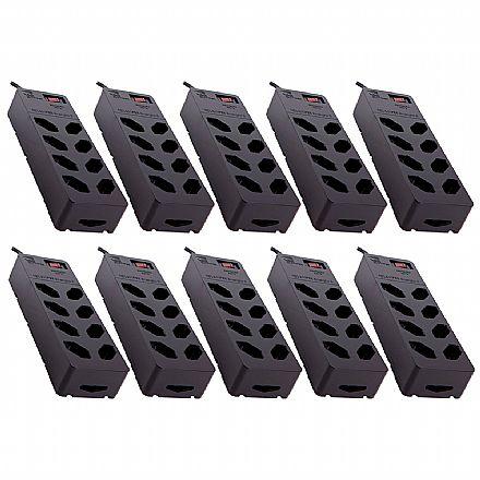Kit Protetor Contra Raios Clamper, iClamper Energia 8 - 10 unidades - DPS - com 8 tomadas - 13000 - Preto