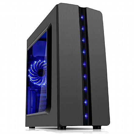 Gabinete Gamer K-Mex Matrix - Lateral em Acrílico - Led Azul Frontal - CG-04R8