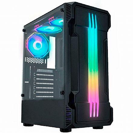 Gabinete Gamer K-Mex Bifrost 2 - Lateral em Vidro Temperado - LED RGB - CG-01KB