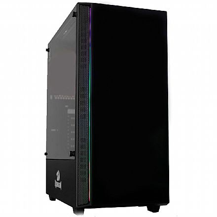 Gabinete Gamer Redragon Grapple - RGB Frontal - Frontal e Lateral em Vidro Temperado - Mid Tower - Preto - GC-607BK