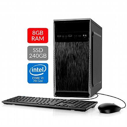 Computador Bits WorkHard - Intel i3 7100, 8GB, SSD 240GB, Kit Teclado e Mouse, FreeDos - 2 Anos de garantia