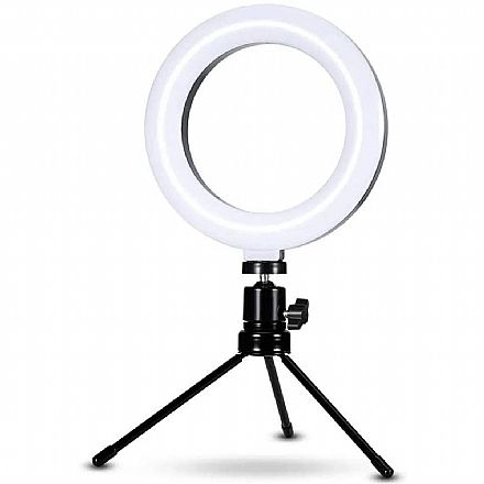 """Iluminador LED Ring Light 6"""" - com Tripé - Controle de Luz - USB"""