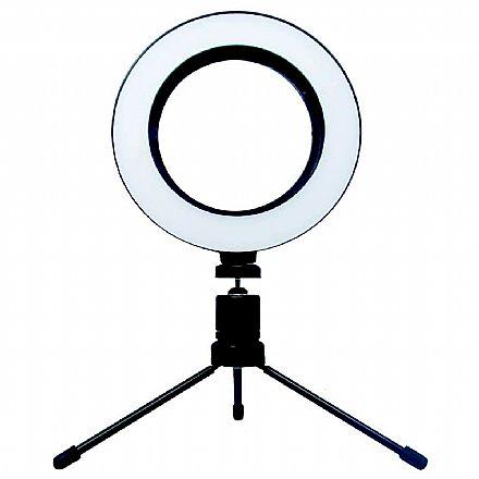 """Iluminador LED Ring Light 8"""" - com Tripé - Controle de Luz - USB"""