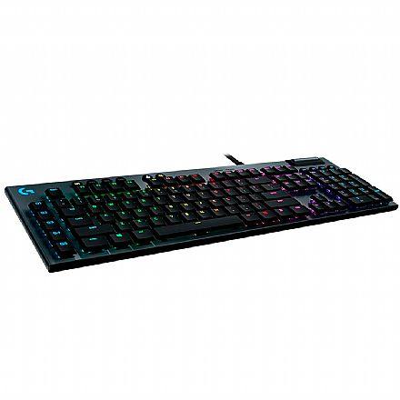 Teclado USB Gamer Mecânico Logitech G815 - Padrão US - Iluminação LIGHTSYNC RGB - Switch GL Tactile Marrom - 920-008984