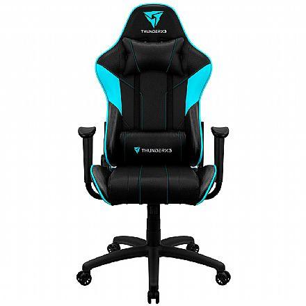 Cadeira Gamer Thunderx3 EC3 - Encosto Reclinável de 180° - Construção em Aço - Preto e Ciano - 68000