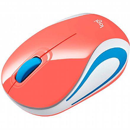 Mini Mouse sem Fio Logitech M187 Coral - 1000dpi - 910-005362