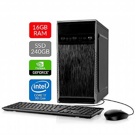 Computador Bits WorkHard - Intel i7 9700KF, 16GB, SSD 240GB, Video GeForce, Kit Teclado e Mouse, FreeDos - 2 Anos de garantia