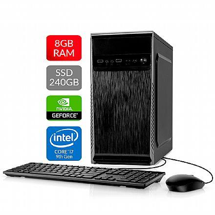 Computador Bits WorkHard - Intel i7 9700KF, 8GB, SSD 240GB, Video GeForce, Kit Teclado e Mouse, FreeDos - 2 Anos de garantia