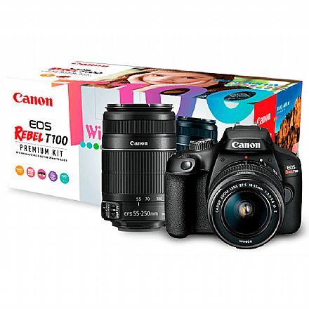 Canon EOS Rebel T100 Premium Kit com Lente 18-55 e Lente EF-S 55-250 - 18 Mega Pixels - Sensor CMOS - DIGIC 4+ - Wi-Fi - 2628C005AA