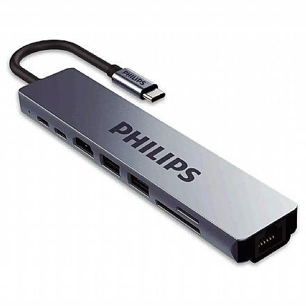 Adaptador Conversor USB-C para HDMI 4K e Rede Gigabit - 2 x USB 3.0 - SD e TF - USB-C - Philips SWV6118G