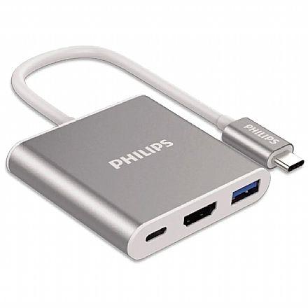 Adaptador Conversor USB-C para HDMI 4K - USB 3.0 - USB-C - Compatível com Samsung DEX - Philips SWV6003G