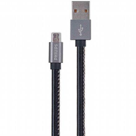 Cabo Micro USB para USB - Cabo em Couro - 1.2 metro - Philips DLC2518B/97
