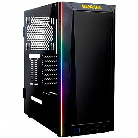 Gabinete Gamer Gamdias Talos M1B - LED RGB Frontal - Lateral e Frontal em Vidro Temperado